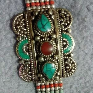 Bali Sterling bracelet, inlaid turquoise and coral